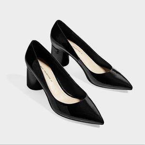 ZARA black patent leather heels